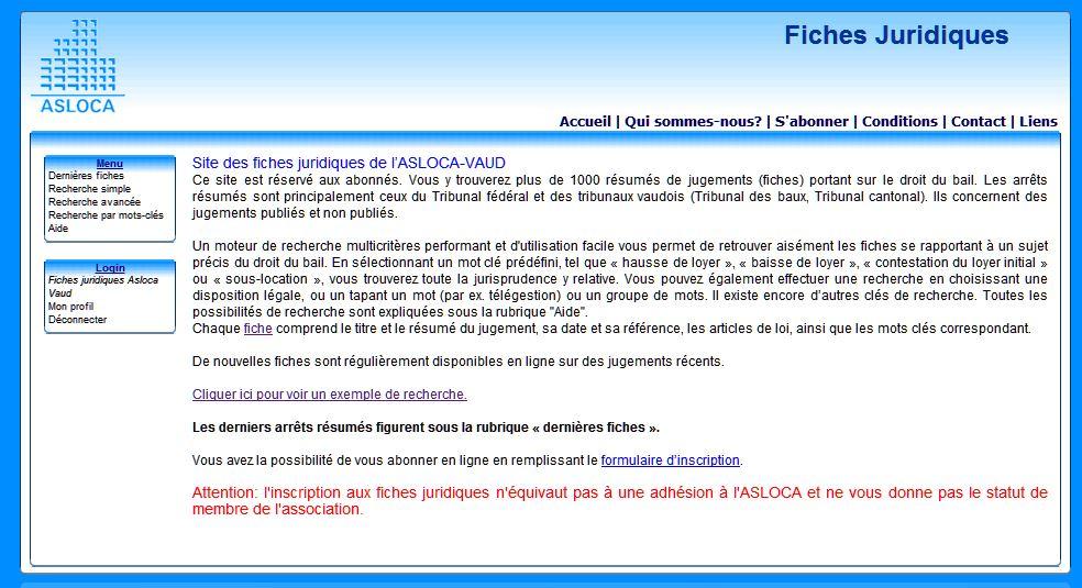 Offre spéciale - Fiches juridiques - Asloca Vaud